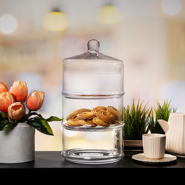 3 Layer Glass Candy Jar image number 0