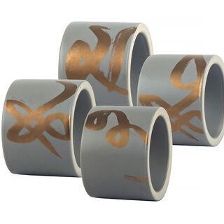 4 Pcs Napkin Ring With Gold Decal Gold Figure