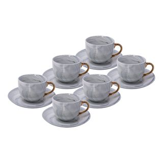 La Mesa Tea Cup and Saucer Set  12 Pieces Grey Marble With Gold