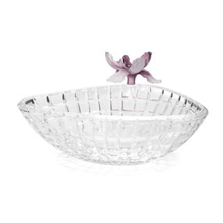 La Mesa Glass Bowl With Violet Crystal Flower 27 Cm