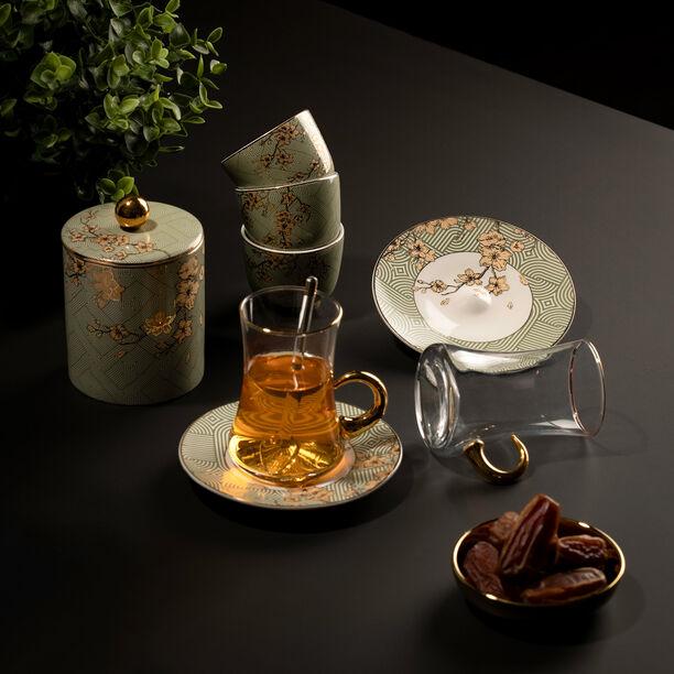 Arabic Tea and Coffee Set 28Pc Porcelain Harmony Serv 6 image number 0