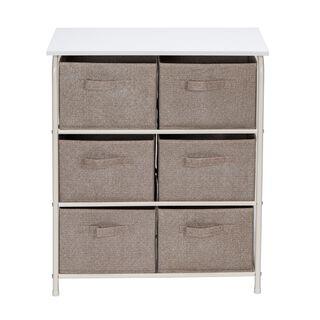 6 Drawer Storage Shelf Whole:60*30*73Cm, Drawer:26.8*26.8*20Cm Brown