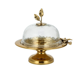 ARABESUE CAKE DOME SMALL WITH EVERGREEN LEAF ACCENT9.50*8.50*7.50 Cm