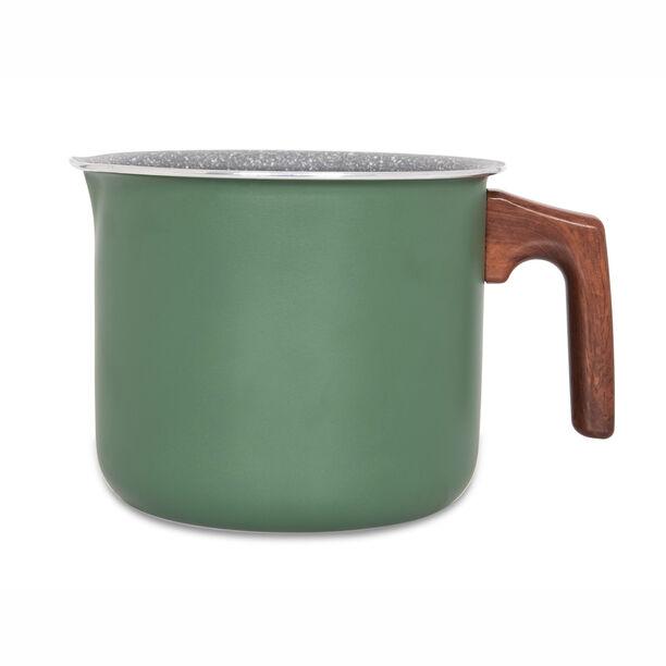 Alberto Non Stick Milk Pan Matt Green With Wooden Handle image number 1