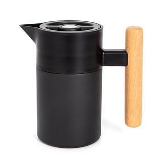 Dallety Steel Vacuum Flask Nature With Wood Handle Black Mini , 800 Ml