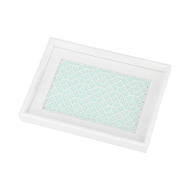 Wood Tray Pp 1Pc White Blue image number 1