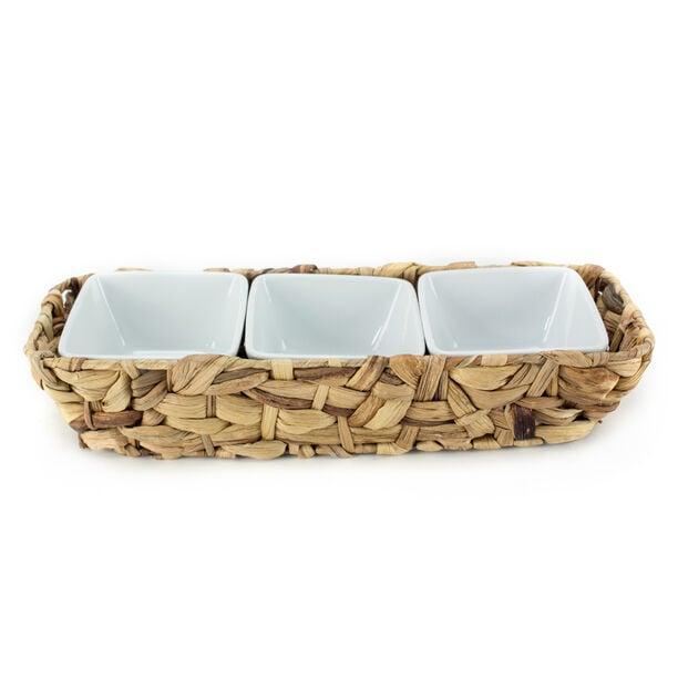 La Mesa Oven/Serving 3 Bowls With Rattan Basket image number 1
