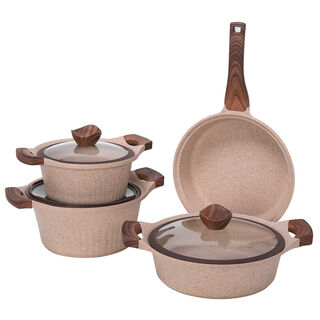 Alberto Yeni Granit 7Pcs Cookware Brownstone