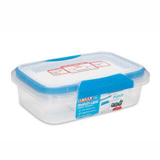 حافظة طعام بلاستيك مستطيل بغطاء محكم الإغلاق سعة 600مل بغطاء ازرق من ديكور