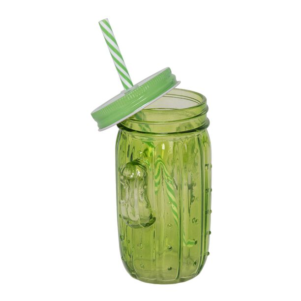 Glass Jar 450Ml With Straw Cactus Shape Colored Body image number 1