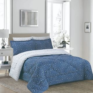 Cottage 3 Pieces Comforter Set Twin Size Camlica Indigo