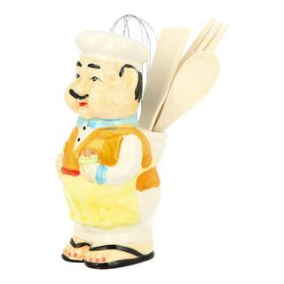 Ceramic Smiling Chef Utensil Holder L:23Cm