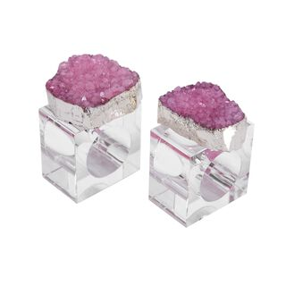2 Pieces Glass Napkin Ring Colored Stone Finish Pink