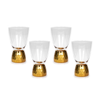 4 Pcs Glass Footed Tumbler With Cutting And Luster Gold