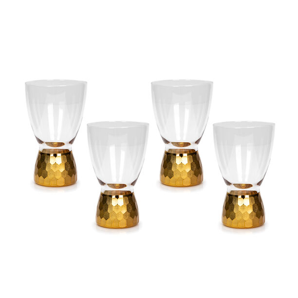 4 Pcs Glass Footed Tumbler With Cutting And Luster Gold image number 0