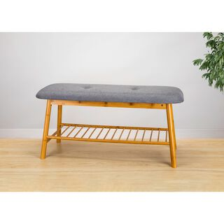 Bamboo And Fabric Bench 90X34X45 Cm