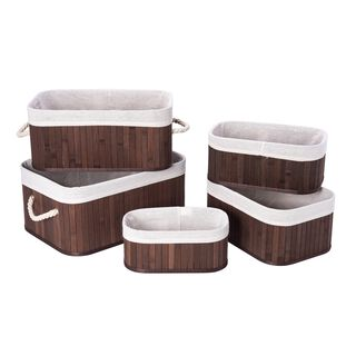 Bamboo Basket Set Brown 5 Pieces