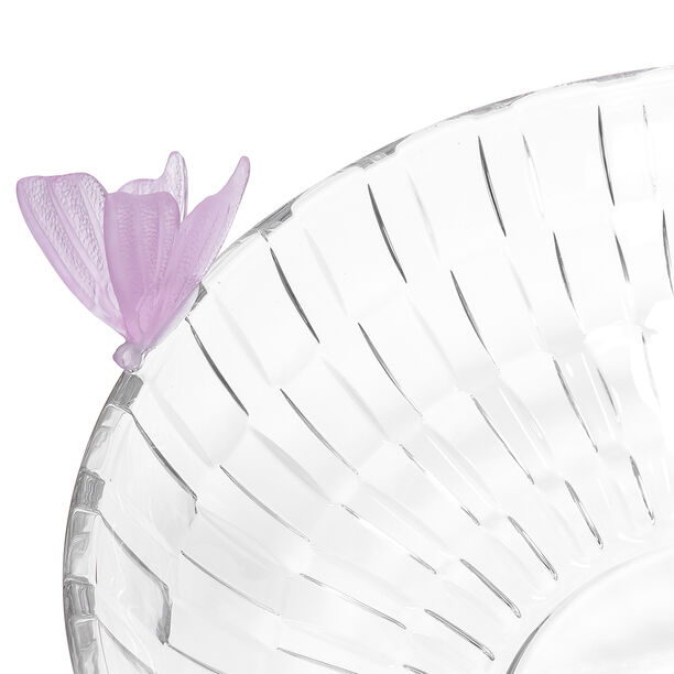 Glass Butterfly Bowl 1 Pc Crystal Pink image number 2