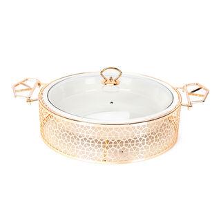 طبق تقديم دائري مع سخّان ذهبي