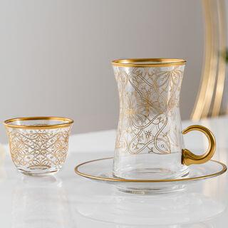 18Pcs Glass Arabic T&C Mrc Serve 6 Gold