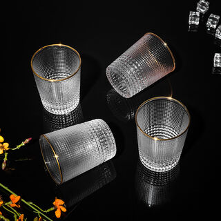 Set Of 4 Dead Mold Tumbler With Gold Rim