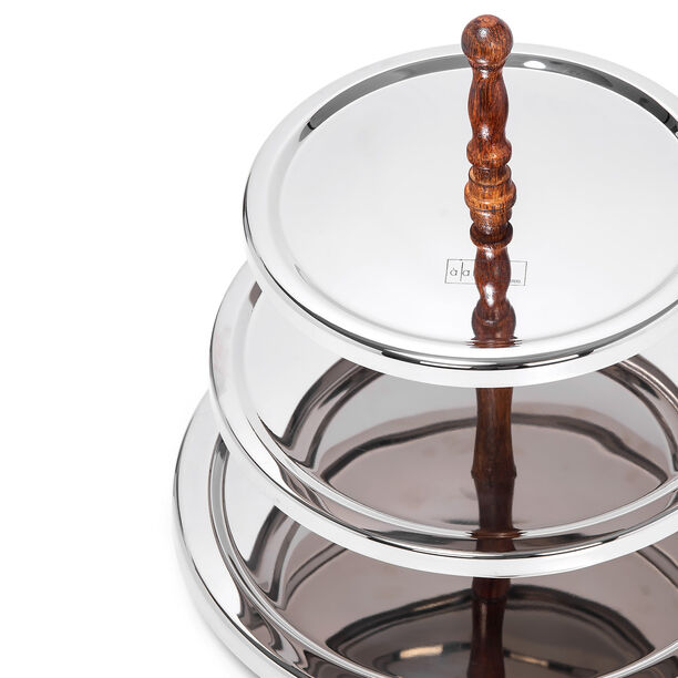 Mode 3 Tier Round Serving Stand Wood Handle image number 2