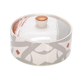 Lamesa 1Pc Porcelain Date Bowl Ingenuity Rosegold&Gray 12.50Cm