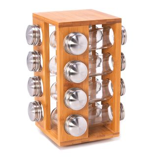 Spice Jars Set 16 Pieces With Bamboo Rack