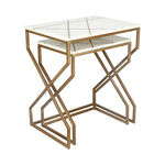 Nested Table Set Of 2 Rect. Marble And Metal White image number 1