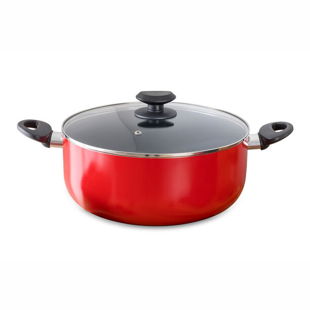Betty Crocker Non Stick Stockpot With Glass Lid Red Color  image number 0