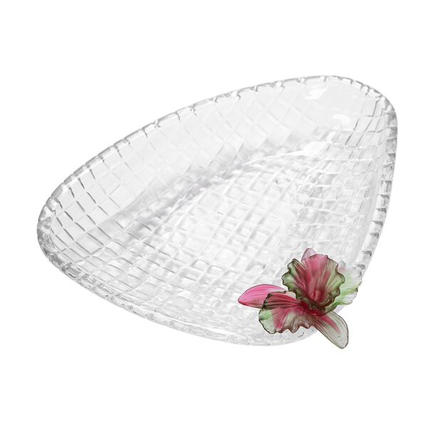 La Mesa Glass Plate With Pink Crystal Flower 37 Cm image number 1