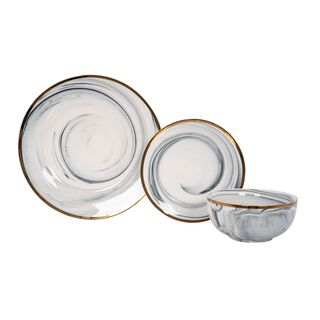 La Mesa Dinner Set 18 Pieces Grey Marble With Gold