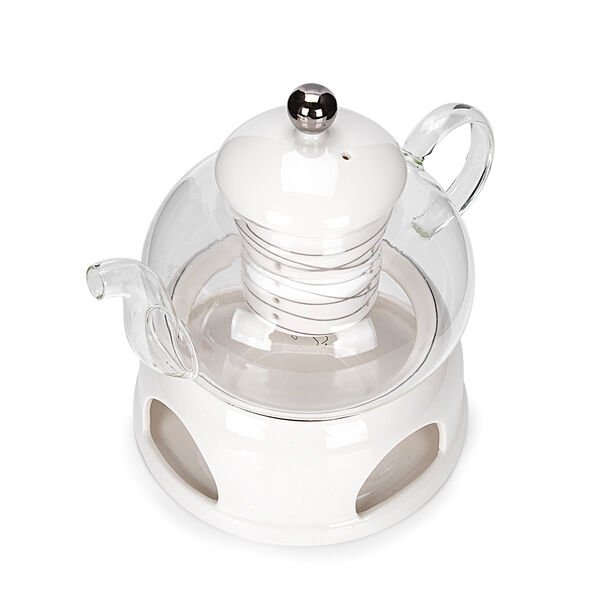 English Tea Pot With Warmer Inner Edg2 Silver image number 2