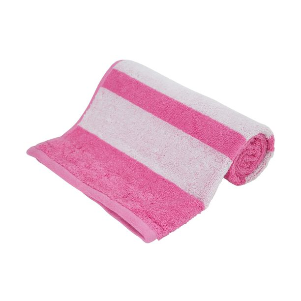 Hand Towel 50X100Cm Egyption Strips Cotton Pink image number 0