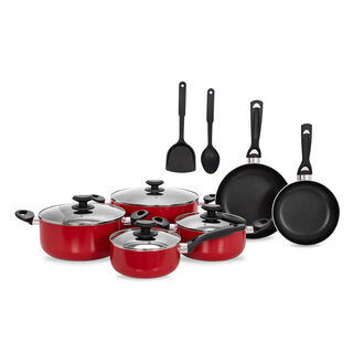 Betty Crocker 12Pcs Non Stick Cookware Set With Glass Lid