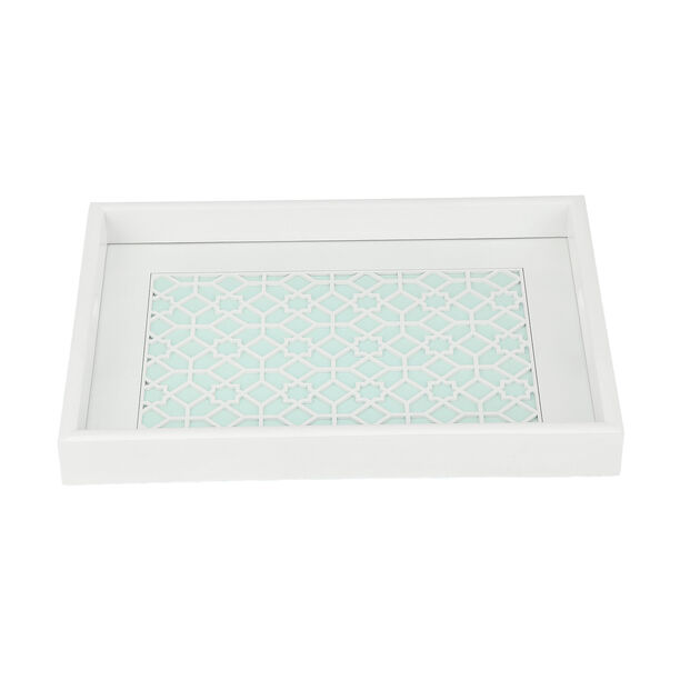 Wood Tray Pp 1Pc White Blue image number 3