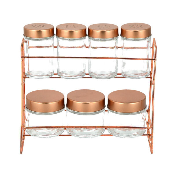Alberto 7 Pieces Glass Spice Jars With Copper Clip Lid And Metal Stand image number 1