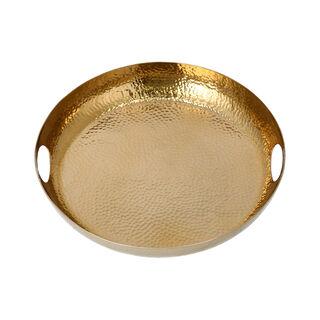 Steel Round Tray Manuscript Gold