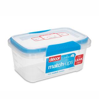 Decor Plastic Food Saver Rectangle Shape V: 1 L Blue Lid ( Match Ups Clips)
