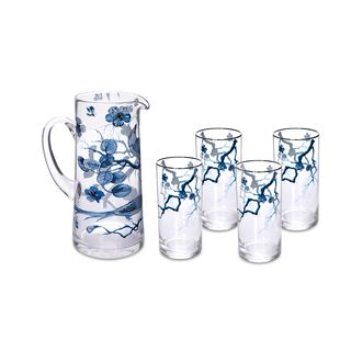 La Mesa Blue Flwr Drink Set 5 Pieces
