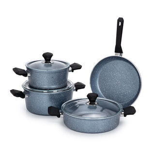 Pentola 7 Pcs Granite Cookware Set Blue 20-24 Pot, 26 Low Pot, 26 Frypan