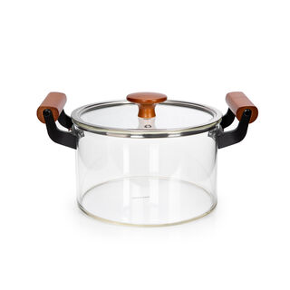 Alberto Borosilicate Glass Casserole With Lid And Wooden Handle V: 5000Ml
