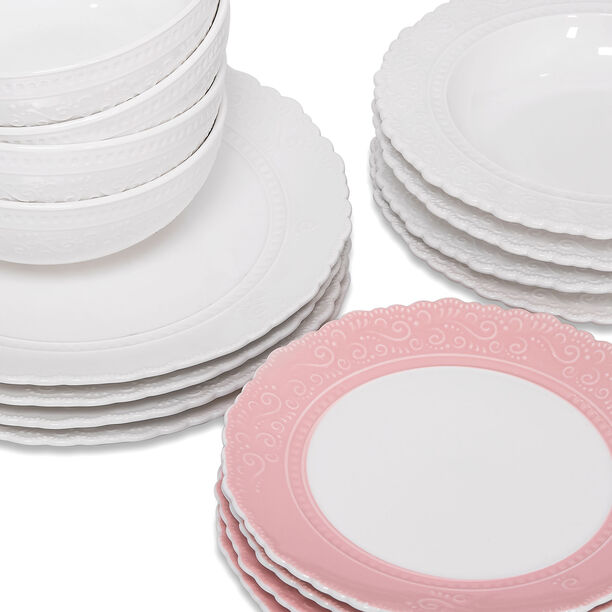 16 Pcs Dinner Set Lacy Pink & White image number 1