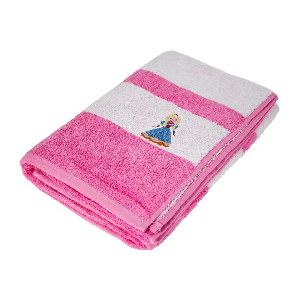 Bath Towel With Stripes Cotton Pink image number 1