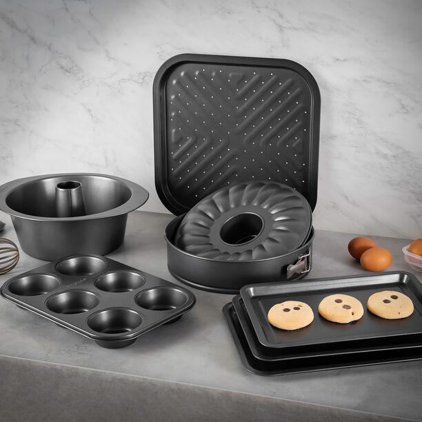 Betty Crocker Non Stick Rectangular Pan Set 3 Pieces Grey Color image number 3