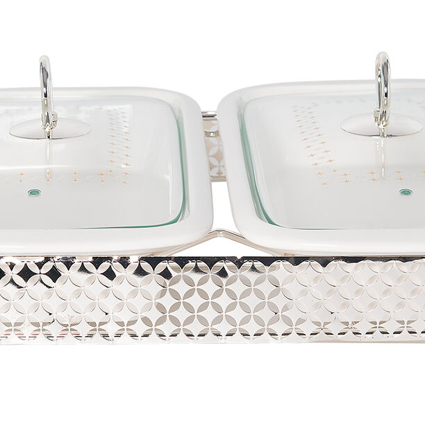 Twin Rectangle Casserole With Hanger And Warmer Stand  image number 1