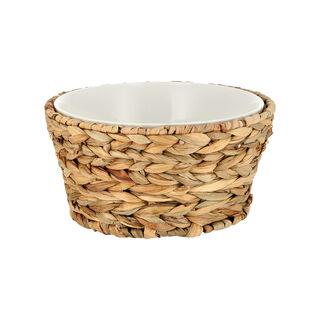 Porcelain Round Salad Bowl With Rattan Basket