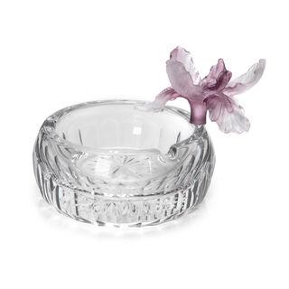Glass Ashtray Crystal Flower Purple