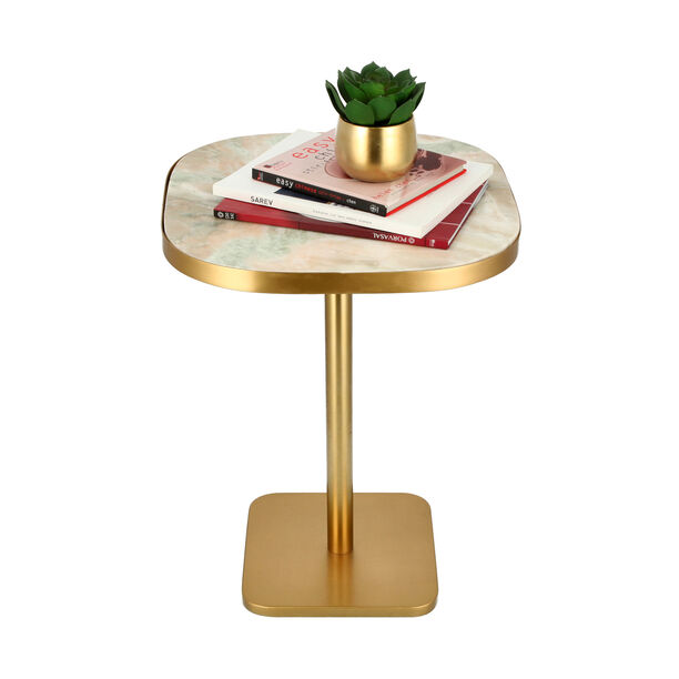 Side Table Gold Base Black White&Green Marble image number 2