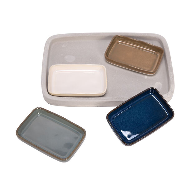 4 Pcs Nuts Bowl On Grey Wood Tray image number 1